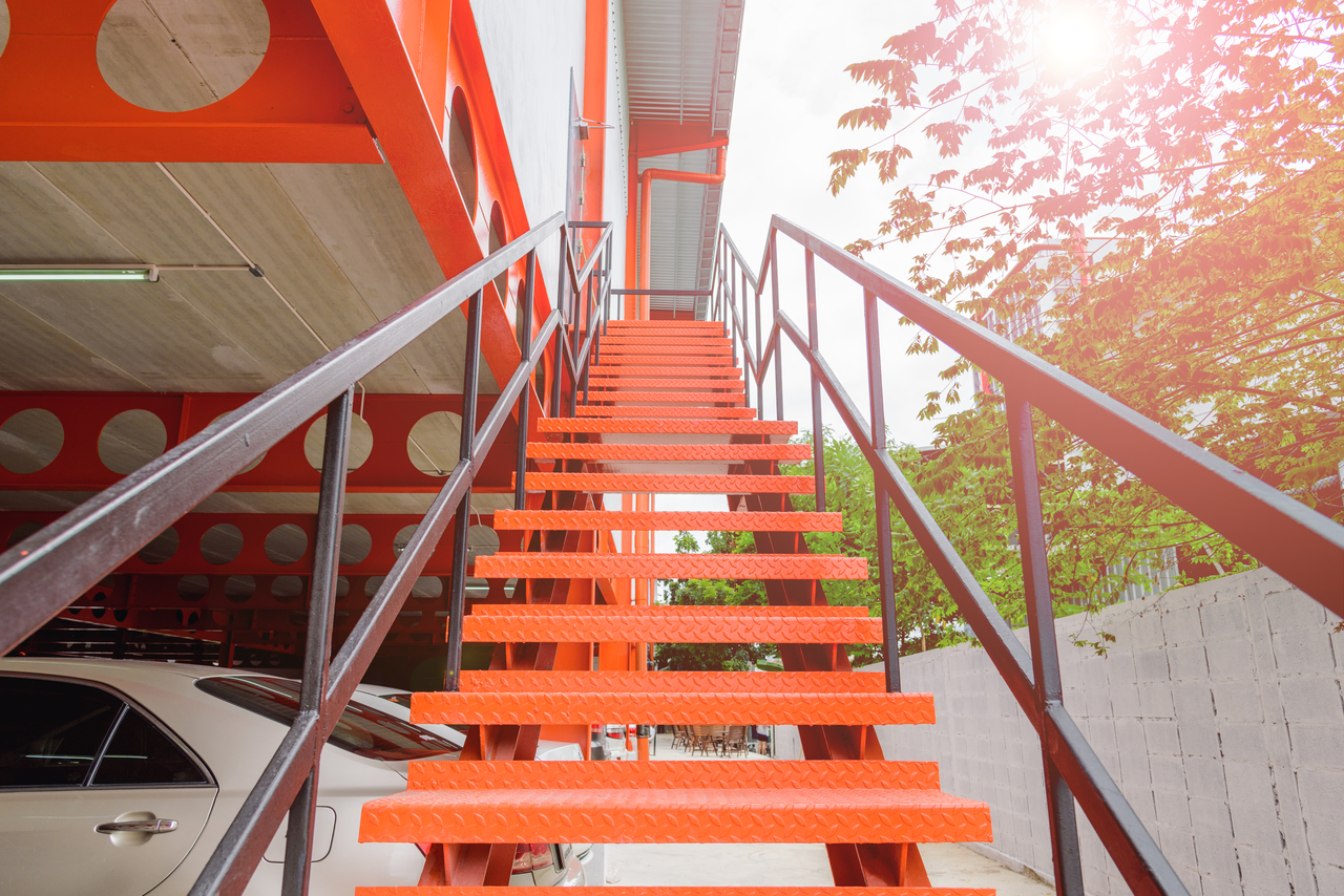 Checkered Steel Plates Staircase