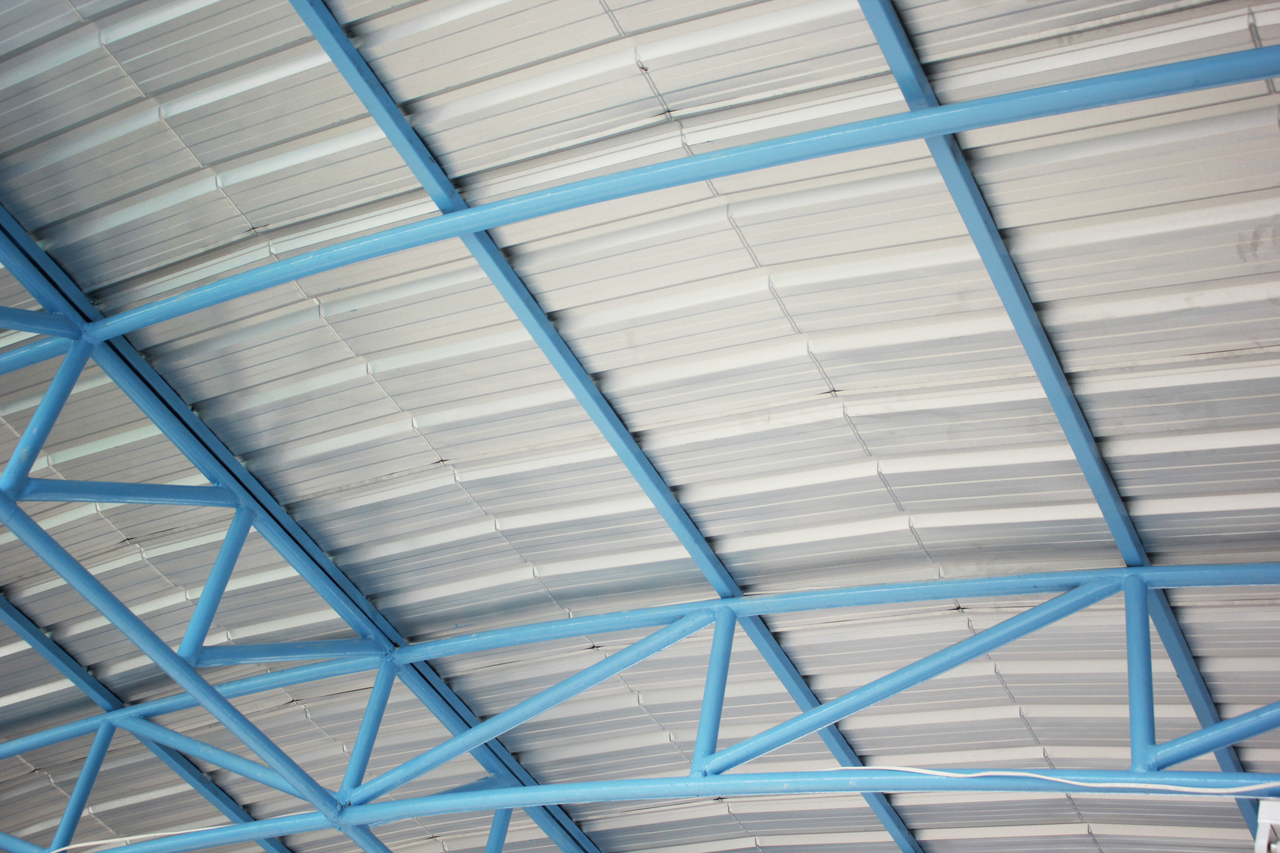 Steel frame of a roof