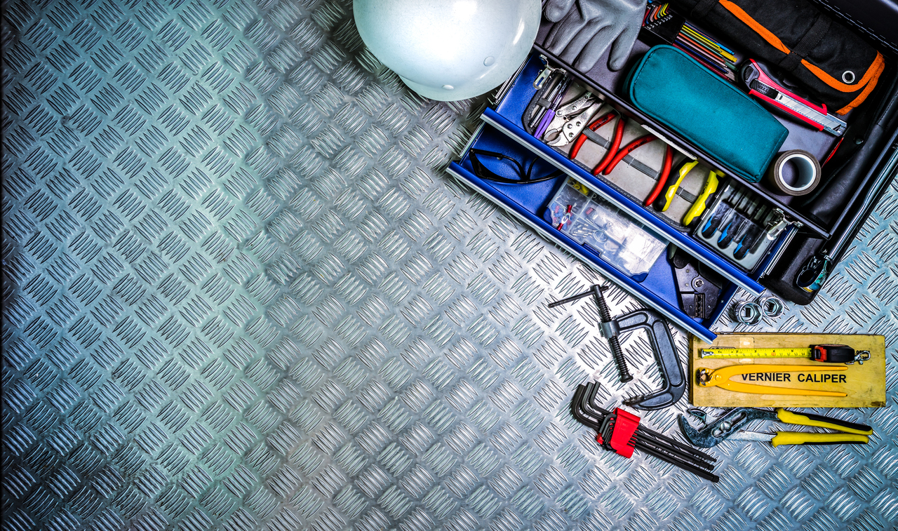 Top shot of checkered steel plates