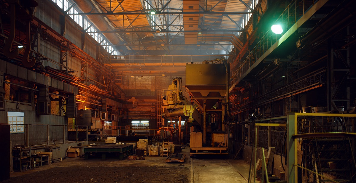 Interior of steel factory, metallurgical or metalworking industry
