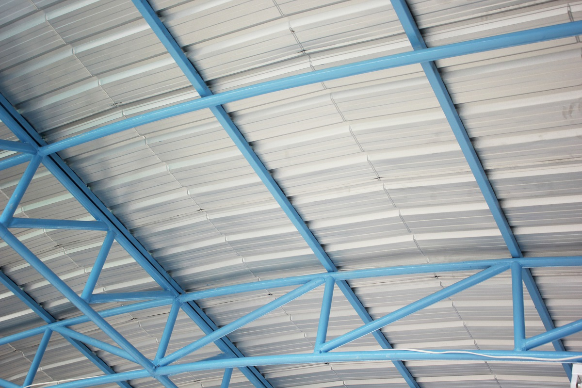 Steel frame under the roof